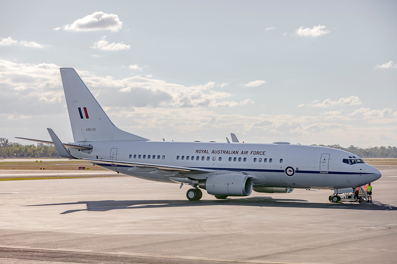 RAAF Boeing 737-7DF BBJ A36-001 VIP Transport arrving at Rockhampton Airport carrying Prime Minister Scott Morrison.