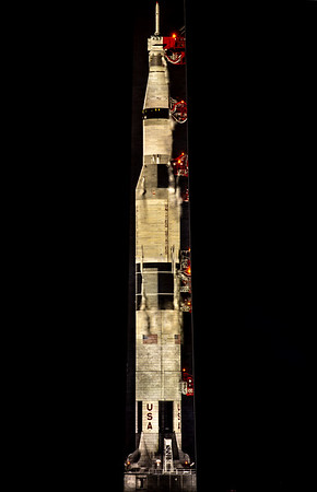 Apollo 11 50th Anniv. : Saturn V rocket projected on Washington Monument  (July 17,19 2019)