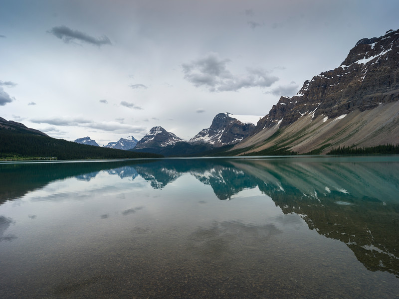 Reflection of mountains in Bow Lake, Banff National Park, Jasper, Alberta, Canada