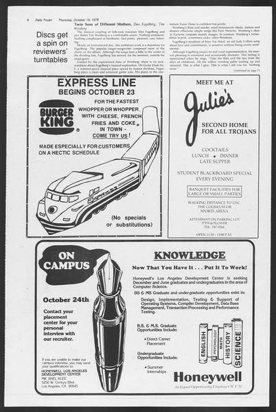 Daily Trojan, Vol. 75, No. 22, October 19, 1978