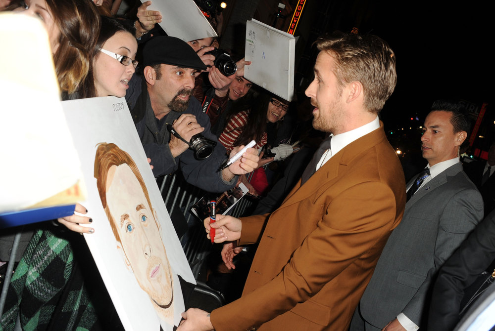 """. Actor Ryan Gosling arrives at Warner Bros. Pictures\' \""""Gangster Squad\"""" premiere at Grauman\'s Chinese Theatre on January 7, 2013 in Hollywood, California.  (Photo by Kevin Winter/Getty Images)"""