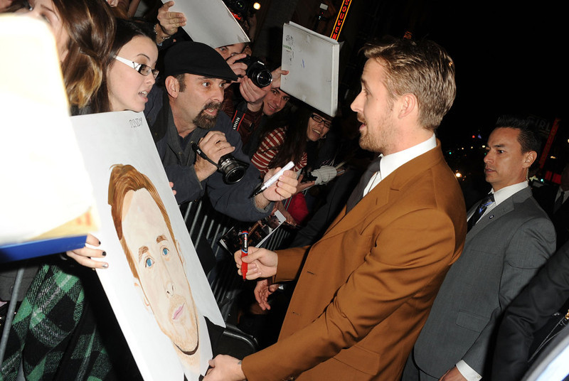 ". Actor Ryan Gosling arrives at Warner Bros. Pictures\' ""Gangster Squad\"" premiere at Grauman\'s Chinese Theatre on January 7, 2013 in Hollywood, California.  (Photo by Kevin Winter/Getty Images)"