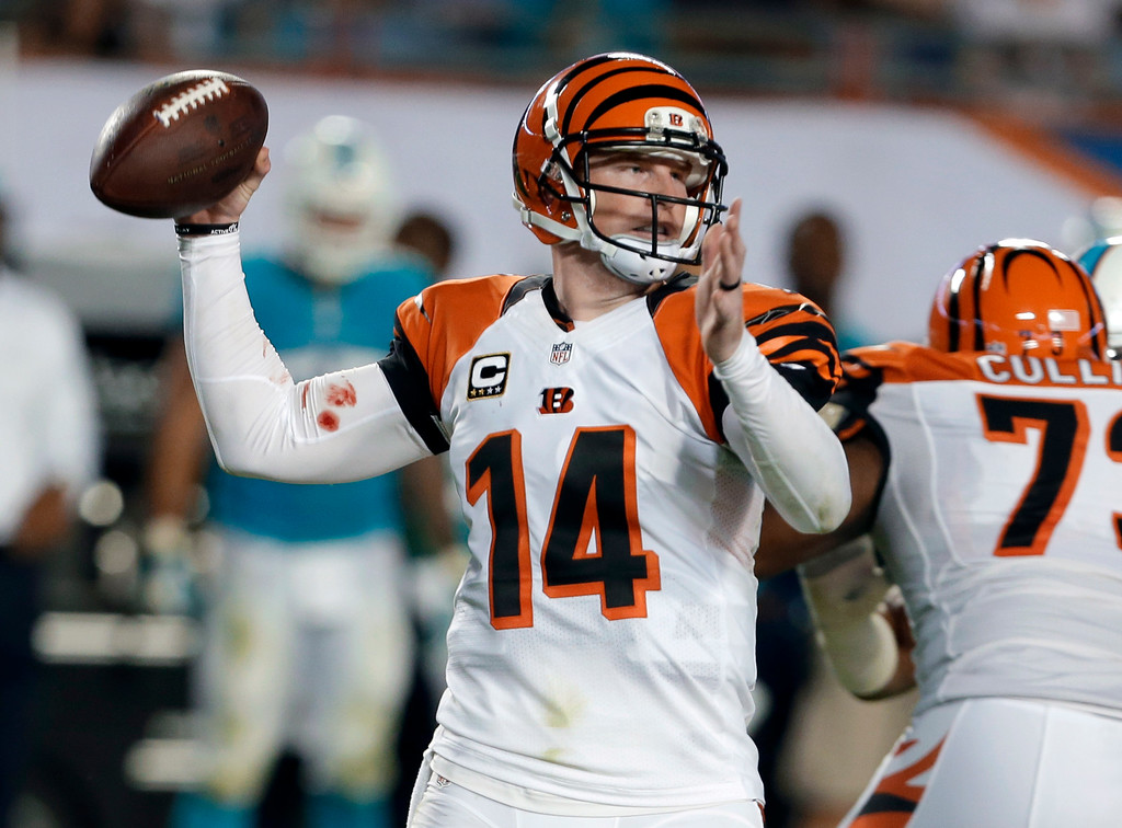 . Cincinnati Bengals quarterback Andy Dalton looks to pass during the first half of an NFL football game against the Miami Dolphins, Thursday, Oct. 31, 2013, in Miami Gardens, Fla. (AP Photo/Lynne Sladky)
