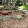 timber pallet seat and boulder and plank amphitheatre seating