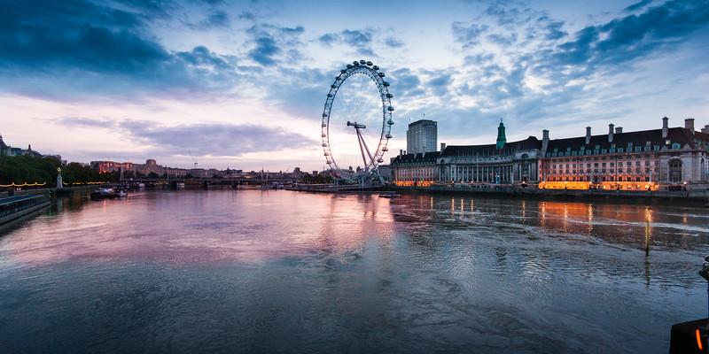London Eye sunrise from Westminster Bridge