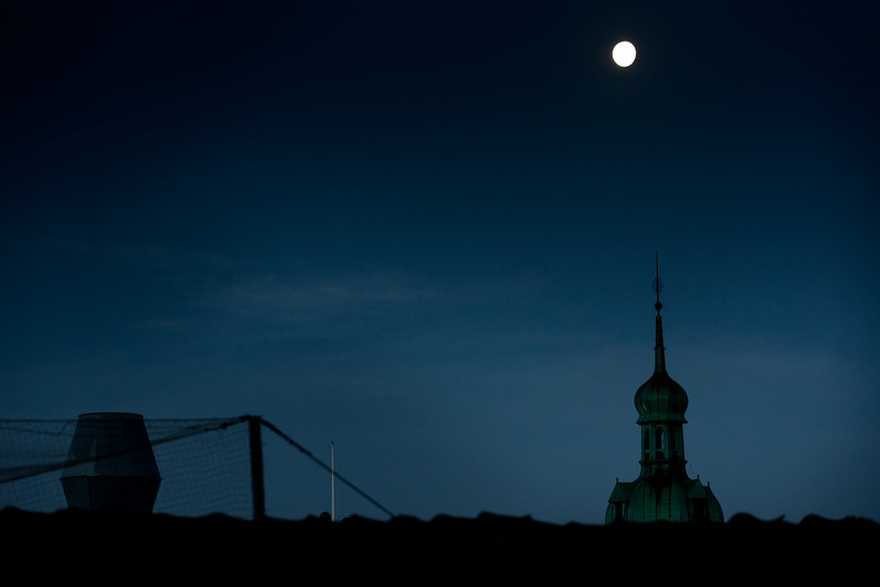 Moon over tower