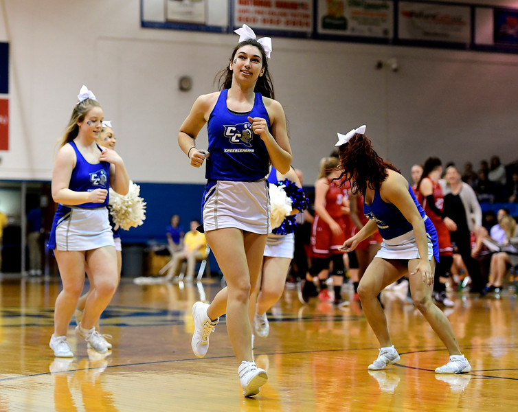 1/19/2019 Mike Orazzi | Staff CCSU cheerleaders during Saturday's women's basketball game with Saint Francis University in New Britain.