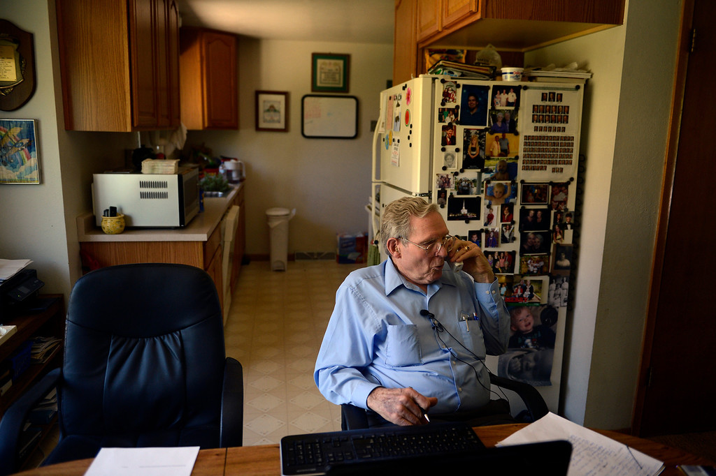 """. AURORA, CO. - May 22: Bob Crowell in his Aurora home tells Governor John Hickenlooper \""""Judicial as far as defense is concerned is broken and that makes Colorado a chicken state, we have a chicken governor,\"""" on a conference call with other family members of Nathan Dunlap\'s crimes as the governor announced he granted the death row inmate a \""""temporary reprieve\"""" from the death penalty May 22, 2013 Aurora, Colorado. (Photo By Joe Amon/The Denver Post)"""