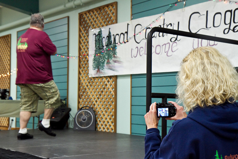 Michele video taping Richard at Late Harvest Stomp