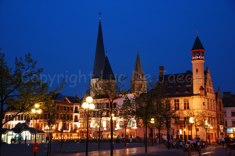 The Friday Market (Vrijdagmarkt) in Ghent (Gent), Belgium, captured at dusk.
