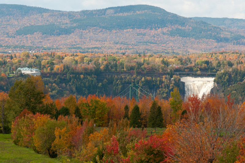 iew of Montmorency Falls from afar near Quebec City, Canada.
