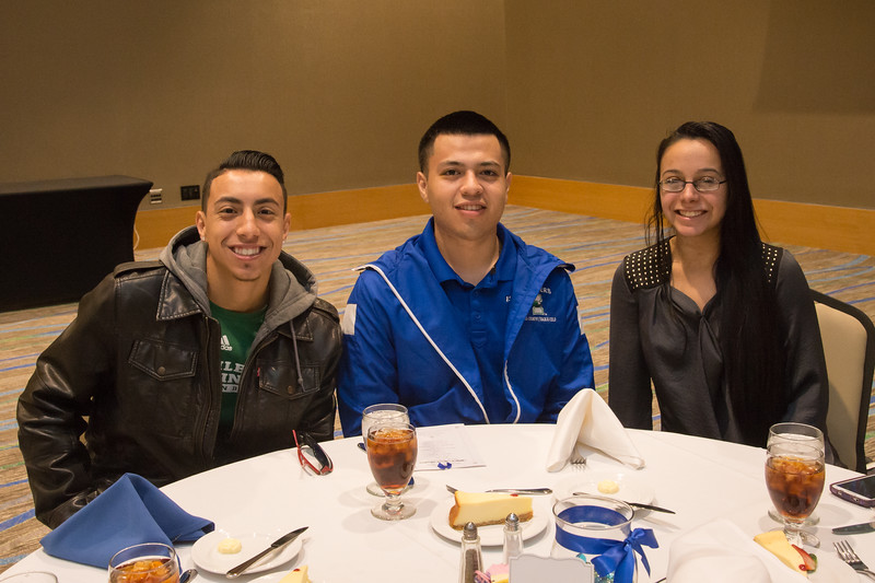Agustin Melendez(left), Ricardo Zavala, and Shellby Soto  show us their great smiles at the MLK Awards Luncheon.