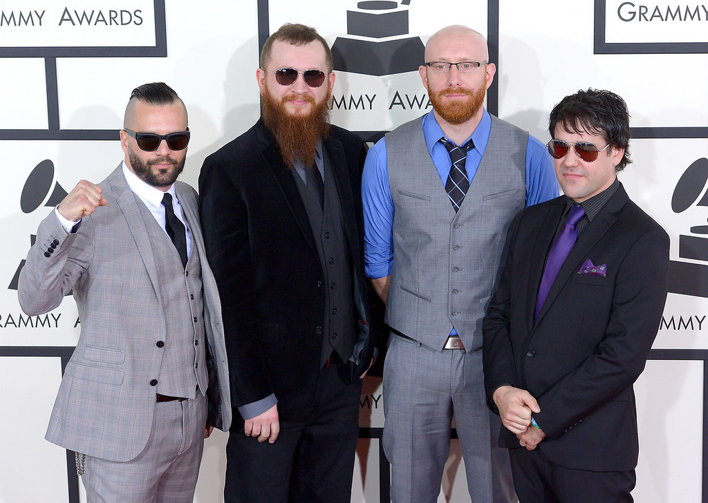 . Killswitch Engage arrives at the 56th Annual GRAMMY Awards at Staples Center in Los Angeles, California on Sunday January 26, 2014 (Photo by David Crane / Los Angeles Daily News)