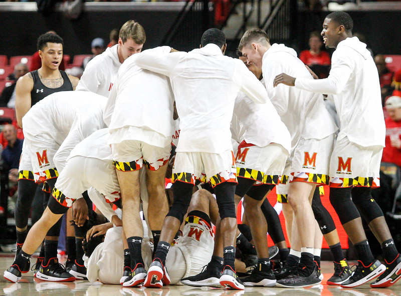 January 20, 2018: UMD players get ready during warm-ups before the BIG Ten Men Basketball action between University of Wisconsin and University of Maryland in College Park. Photo by: Chris Thompkins/Prince Georges Sentinel