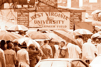 Athletic Publications-WVU vs Kentucky crowd under umbrellas