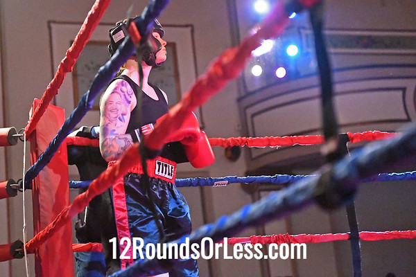 Bout #3:  Danielle Cuculic (Blue Gloves), Old Angle BC  vs  Lea Rush (Red Gloves), Against the Ropes BC, 141 Lbs. - Novic e (F)