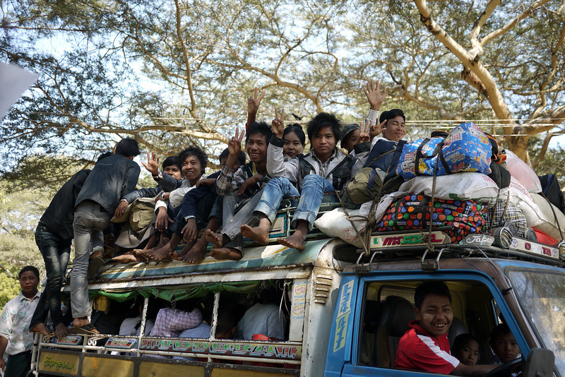 A full truckload of people in Bagan, Burma (Myanmar)