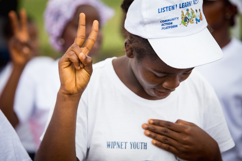 Monrovia, Liberia October 7, 2017 -  Women singing at the prayer tent prior to the 2017 election.