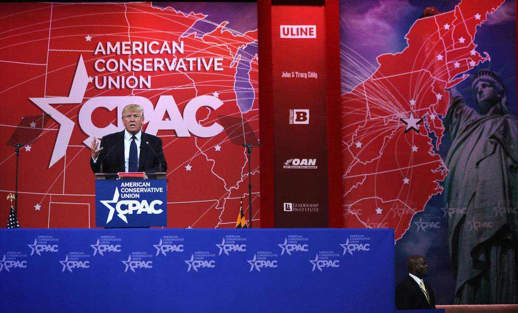 . Chairman and president of the Trump Organization Donald Trump addresses the 42nd annual Conservative Political Action Conference (CPAC) February 27, 2015 in National Harbor, Maryland.   (Photo by Alex Wong/Getty Images)
