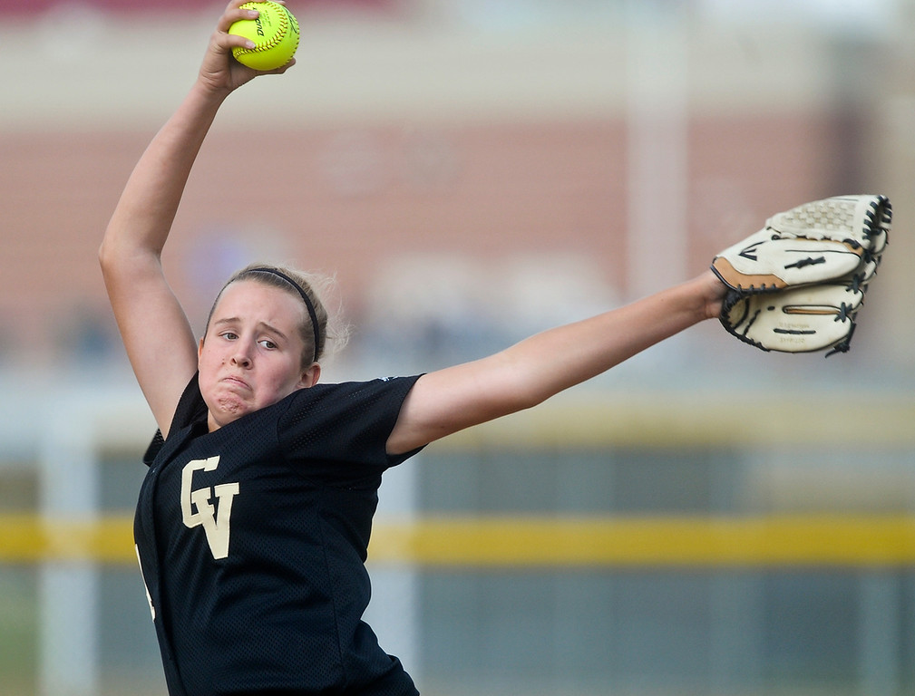 . Citrus Valley softball pitcher Taylor Troost pitches against Jurupa Hills High School on Tuesday, May 7, 2013. Jurupa Hill defeated Citrus Valley 2-3. (Rachel Luna / Staff Photographer)