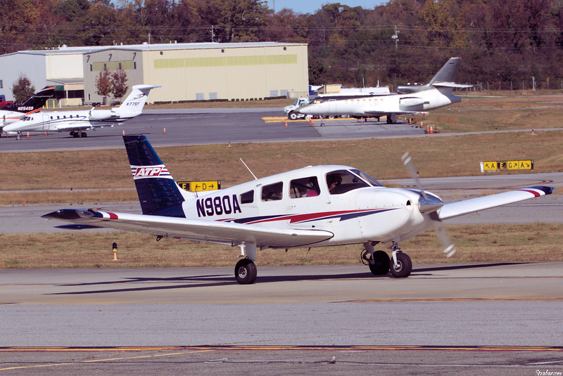 Piper PA-28-181 C/n 2843806  N980A ARCHER AERO LLC  WILMINGTON , DE, US Dekalb Peachtree (KPDK), Ga, 11/16/2020, In background Cessna 650 Citation VII c/n 650-7072 N77SF SENECA FOODS CORP PENN YAN , NY, US Dassault-Breguet Falcon 50 c/n 181    N27GA SN 181 LLC TAMPA , FL, US  This work is licensed under a Creative Commons Attribution- NonCommercial 4.0 International License.