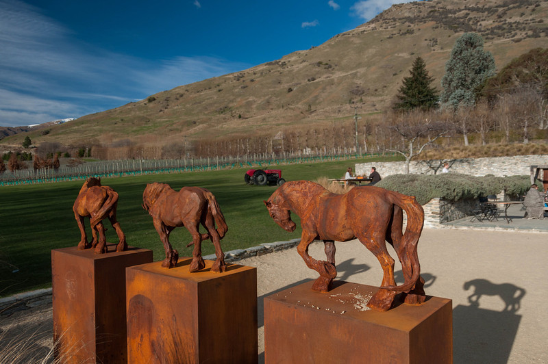 Iron horse statues, Amisfield Vineyard, Queenstown (sculptures by Max Patté)
