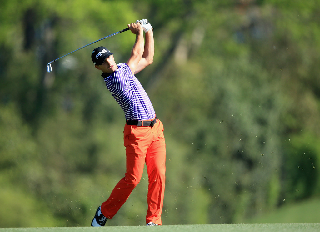 . Billy Horschel of the United States hits his approach shot on the fiifth  hole during the first round of the 2014 Masters Tournament at Augusta National Golf Club on April 10, 2014 in Augusta, Georgia.  (Photo by David Cannon/Getty Images)
