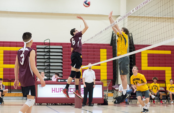 04/22/19 Wesley Bunnell | Staff New Britain volleyball was defeated by South Windsor at home on Monday evening. Bryan Rodriguez (6).