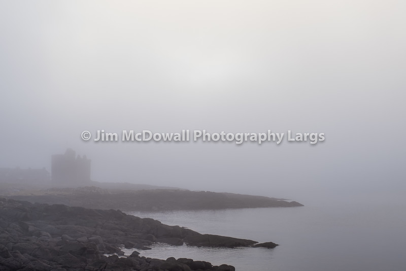 An Atmospheric Portencross Castle Covered in a Freezing Mist coming off the river.