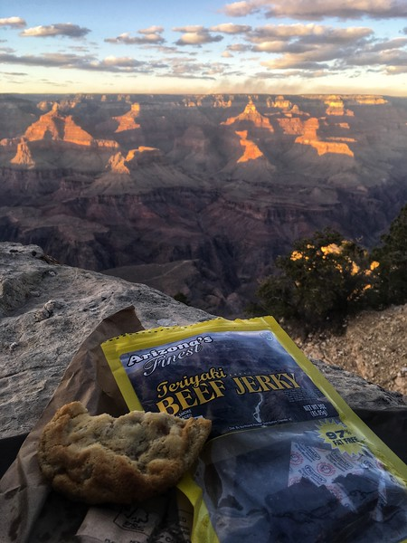 landed in vegas at 10pm, hours wait for the car rental - arrive in GC by 3am. 9am wakeup and hike --- this is our reward - sunset jerky + cookies