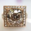 4.03ct Light Fancy Brown Antique Cushion Cut Diamond Halo Ring GIA LFB, SI1 15