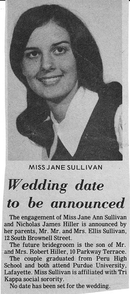Newspaper Clipping - Jane Sullivan & Nick Hiller - Engagement Announcement.jpg
