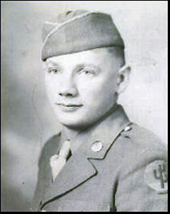 A bit of background now on our presenter for the April 2010 program.  Pictured here is a very young Linfred  LeRoy Schuttler.  A store clerk before World War II, Linfred was drafted in 1943 and completed basic training at Camp Wolters, Texas.  He was part of a 60mm mortar squad of the 103rd Division when he shipped out to Marseilles, France in October 1944.    His unit was part of the US Seventh Army and was sent to the Alsace-Lorraine area of eastern France. During the Battle of the Bulge, they were re-assigned to the US Third Army.   The division ended the war in the Brenner Pass area of Austria and Italy.  Linfred was hospitalized for two months in early 1945 with hepatitis.  He left the Army in 1946 with the Bronze Star, European Theater Ribbon with three Battle Stars and the Combat Infantry Badge.