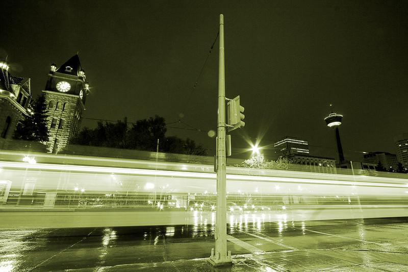 LRT running along 7th Ave (monochromed)