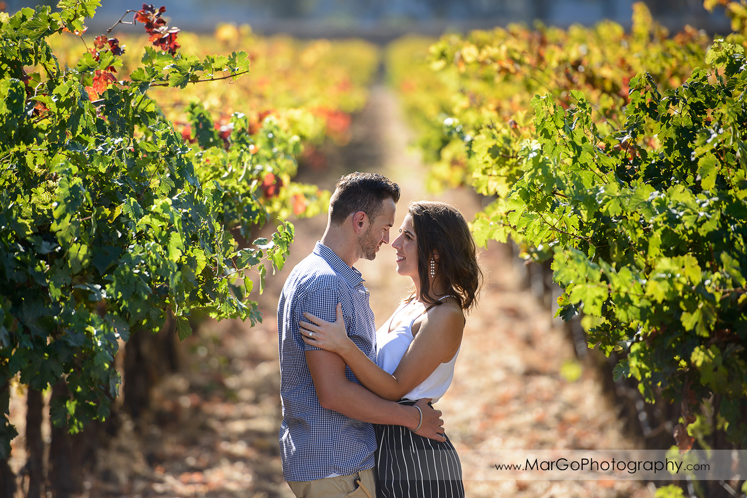 3/4 portrait of man in blue shirt and woman in white top and navy blue shorts looking at each other in the middle of vineyard during Napa Valley engagement session at Grgich Hills Estate in Rutherford