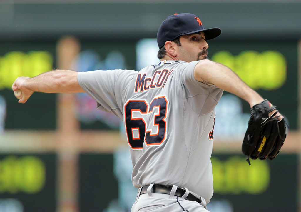 . Detroit Tigers relief pitcher Patrick McCoy throws against the Minnesota Twins in the second inning of a baseball game against the Minnesota Twins, Saturday,  Aug. 23, 2014, in Minneapolis. (AP Photo/Jim Mone)