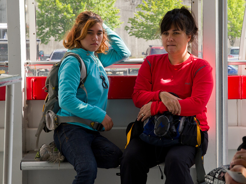 Mother and daughter, in the tram.