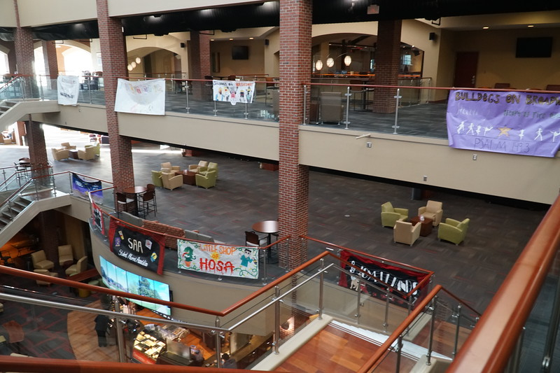 Banners for Homecoming are proudly displayed in Tucker Student Center