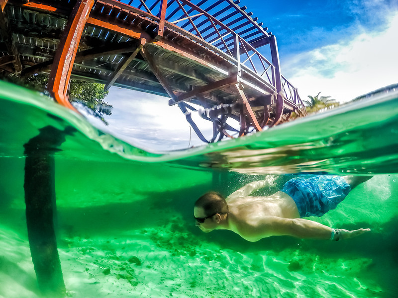 David Stock diving underwater in Mexico