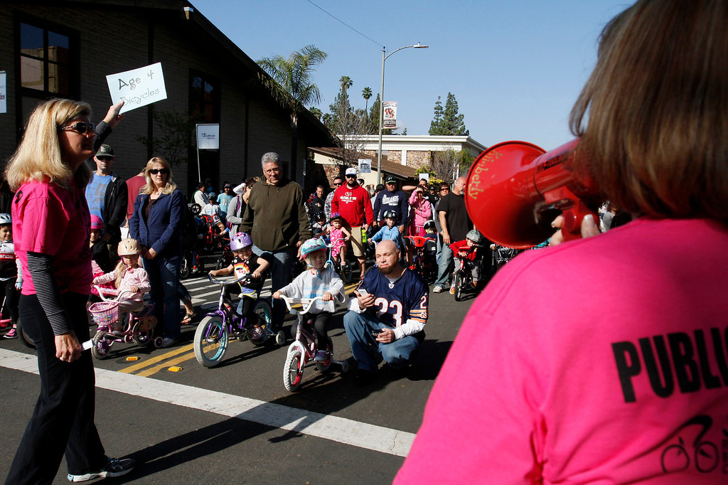 . Riders wait to participate in the public race portion of the Redlands Bicycle Classic on Saturday, April 5, 2014 in Redlands, Ca. (Photo by Micah Escamilla for the Redlands Daily Facts)
