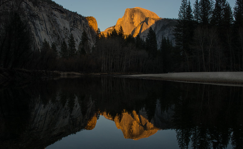 Sunset shines on Half Dome at Camp 6 in Yosemite