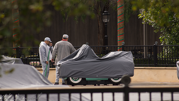 Disneyland Resort, Disney California Adventure, Cars Land, Luigi's Rollickin' Roadsters, Luigi, Rain, Water, Weather, Cover, Vehicle, Car