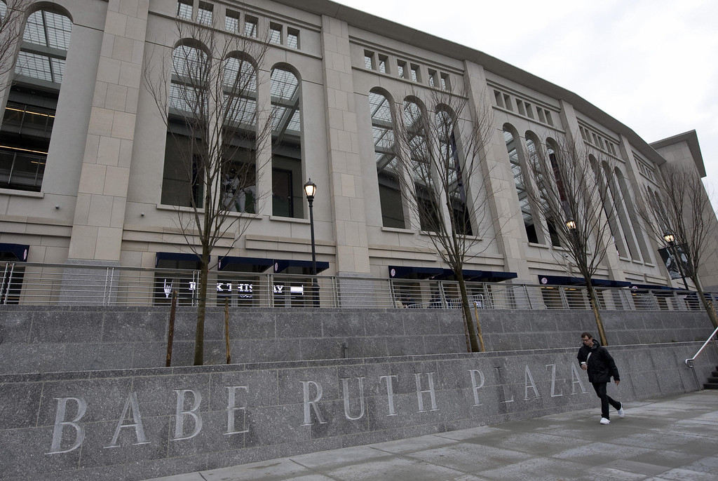 . Babe Ruth Plaza outside the new Yankee Stadium April 2, 2009 in New York. Yankee Stadium opened to the public for the teams first workout. (DON EMMERT/AFP/Getty Images)