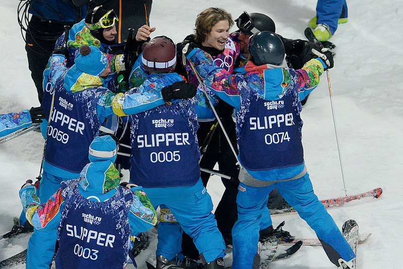 . Switzerland\'s Iouri Podladtchikov reacts to taking over first place after his second run during the men\'s snowboard halfpipe final. Sochi 2014 Winter Olympics on Tuesday, February 11, 2014. (Photo by AAron Ontiveroz/The Denver Post)
