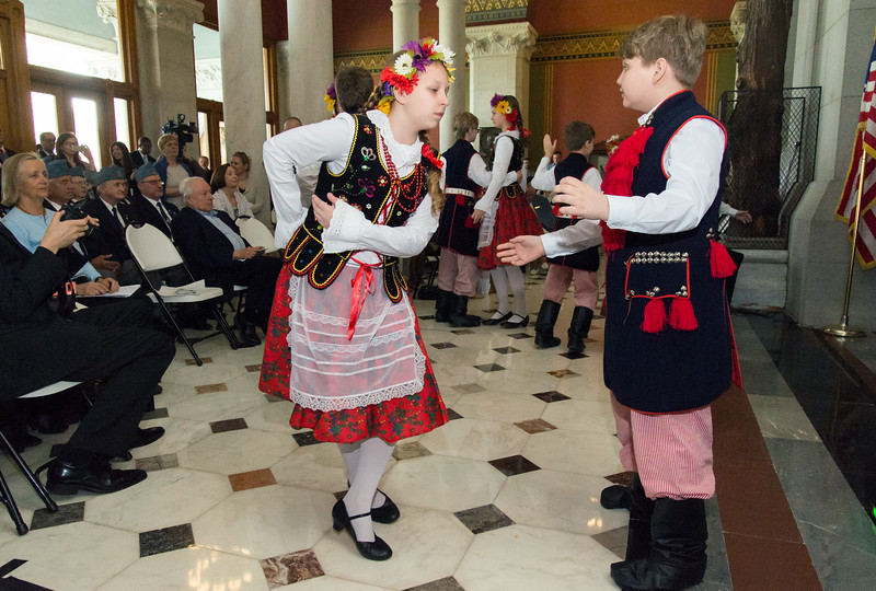 05/02/19  Wesley Bunnell | Staff  Polish Day at the Capitol, in its 28th year, took place at the State Capitol Building on Thursday morning which also commemorates the 228th anniversary of the Polish constitution. Amelia Powala of the Polish Language School performs in a dance routing for the audience.