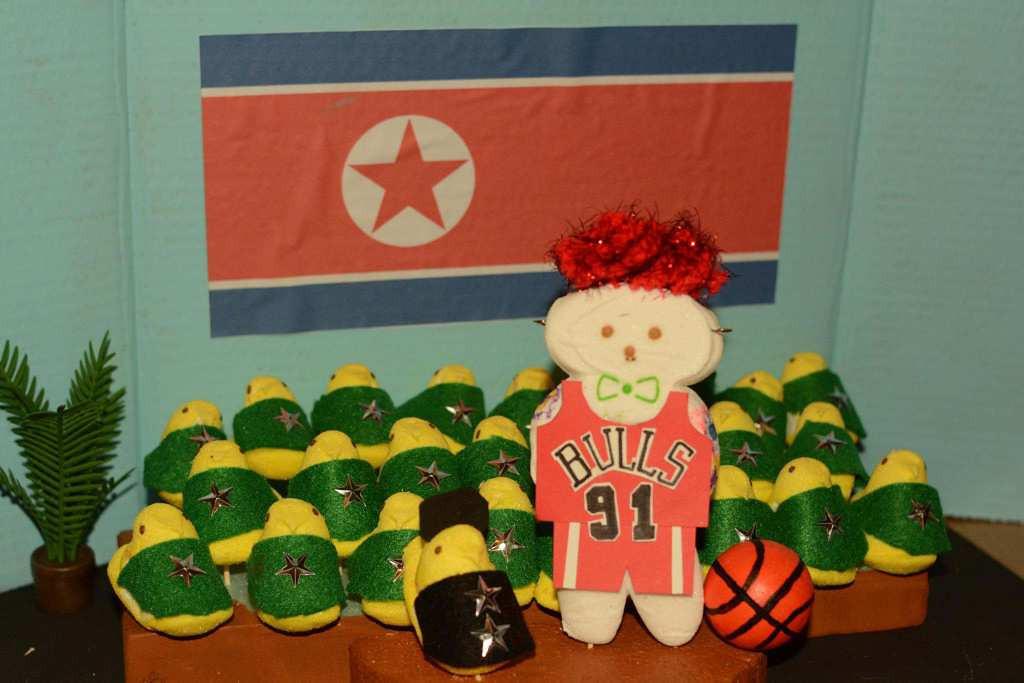 ". \""Dennis Rodman Visits Peepyongyang, North Korea,\"" by Jessie Garretson of Edina"
