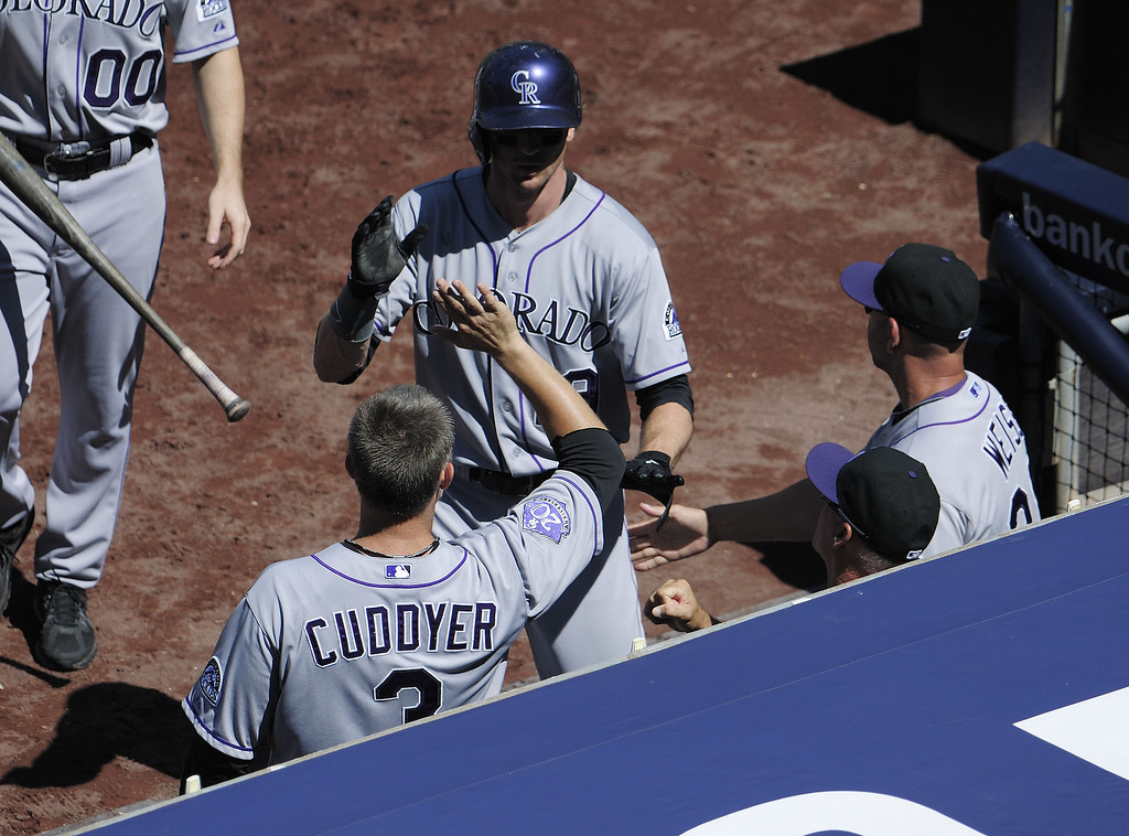 . Charlie Blackmon #19 of the Colorado Rockies is welcomed into the dugout after scoring during the fourth inning of a baseball game against the San Diego Padres at Petco Park on September 8, 2013 in San Diego, California.  (Photo by Denis Poroy/Getty Images)