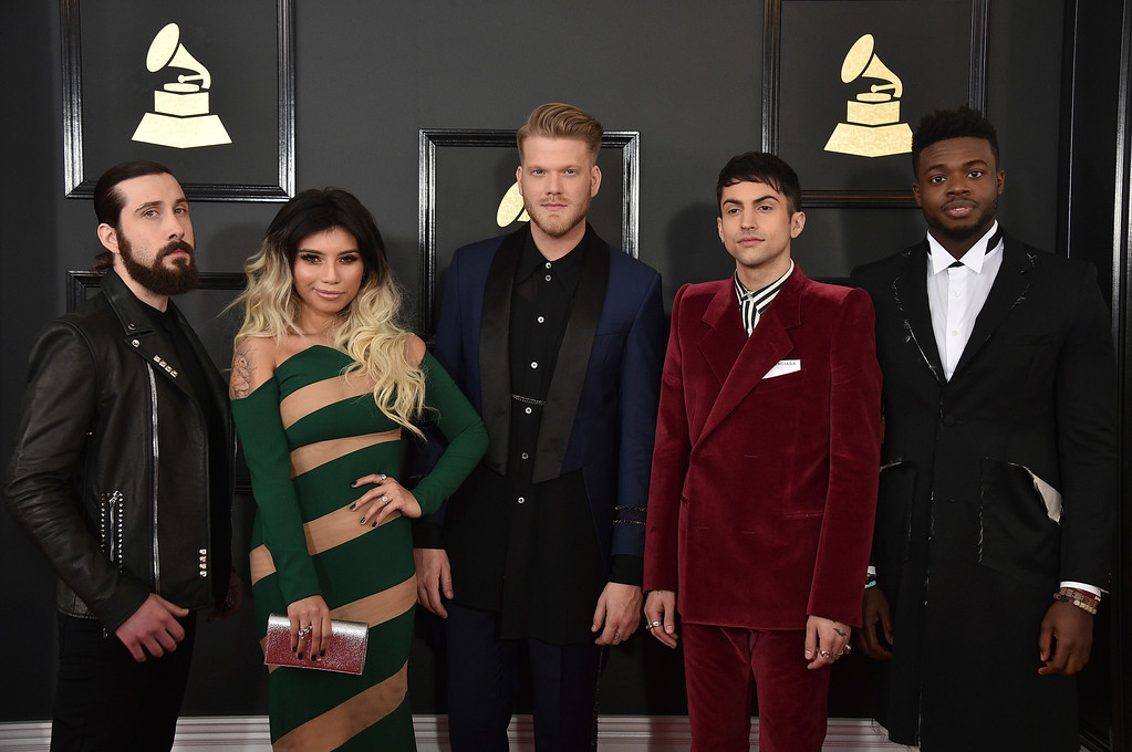 . Mitch Grassi, from left, Kirstin Maldonado, Scott Hoying, Avi Kaplan, and Kevin Olusola of the musical group Pentatonix arrive at the 59th annual Grammy Awards at the Staples Center on Sunday, Feb. 12, 2017, in Los Angeles. (Photo by Jordan Strauss/Invision/AP)