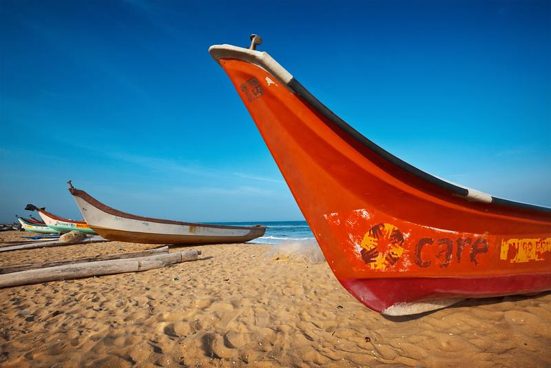 Fishermen's boats on beach in fishing village, Elliot's beach