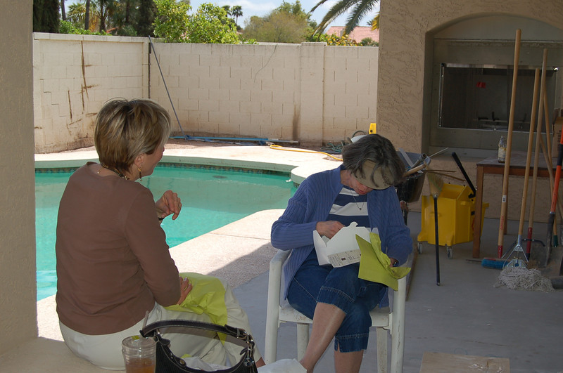 The pool looks inviting, but judging from the sweaters that Deborah and Ellen are wearing, I doubt that this is a day made for swimming.